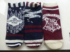 THREE PAIRS OF LADIES SHOE LINERS HARRY POTTER MARAUDERS MAP THEMED UK SIZE 4-8