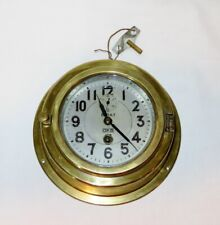 Vintage 8-day Oks Porthole Brass Ship Ship's Clock w/ Key ~ 8.5� Dia ~ Very Rare