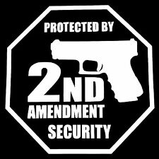 PROTECTED BY 2ND AMENDMENT SECURITY DECAL STICKER TRUCK CAR SUV GARAGE HOUSE