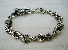 bangle cuff crocodile dragon Traditional design sterling silver bracelet