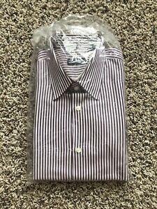 Boss by Hugo Boss Mens Regular Fit White Stripe Purple Dress Shirt Size 16 34/35