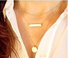 Collier-Sautoir Femme,Multi-rang,Acier Couleur Or,Geometrique,Elegant,Chic,Mode