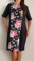CAPTURE Black Pink Floral Bodycon Scuba Midi Dress Plus Size AU 18 Party Work