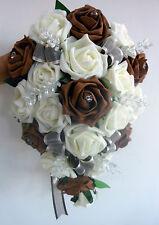BRIDES TEARDROP BOUQUET , Wedding Flowers Ivory & chocolate brown