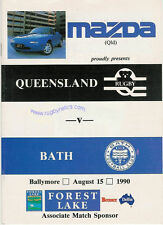 QUEENSLAND v BATH 15th August 1990 RUGBY PROGRAMME at BALLYMORE