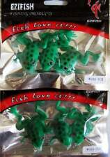 """2 Packs Green 2 3/4"""" Bass Frogs Baits Lures 5/0 Rigs NEW"""
