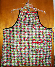 NEW HANDMADE APRON -  BLACK WHITE GINGHAM WITH CHERRIES KITCHEN COTTON CUTE