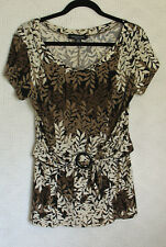 Perceptions New York Top Size 12 Cap Sleeve Front Belt