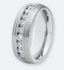 Shiny Round Cut Cubic Zirconia Polished 925 Silver Men's Channel Set Ring