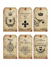 6 Shabby Old French Ephemera Hang Tags - Scrapbooking, Paper Crafts (258)