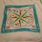 Vtg Rare Brownie 1950s Girl Scout North East West Compass Scarf