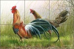 Ceramic Tile Mural Kitchen Backsplash Brown Rooster Country Life Art MBA020