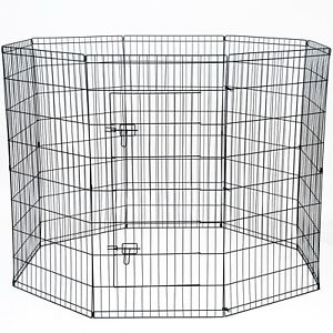 "48"" Tall Wire Fence Pet Dog Folding Exercise Yard 8 Panel Metal Playpen"