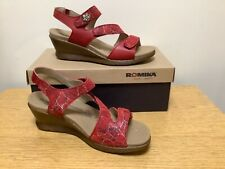 Romika Nevis Red Leather Ankle Strap Wedge Sandals Sz EU 42  USA 11 - 11.5