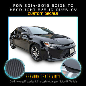 For 2014 2015 2016 Scion tC Headlight Eyelid Eyebrow Decal - Carbon Fiber Vinyl