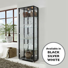HOME Glass Display Cabinet Double Black 4 Shelves Mirror & Light