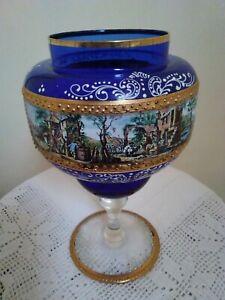 "Vintage Bohemian Czech Art Glass Vase Cobalt Blue And Gold Gilt Enamel 10"""