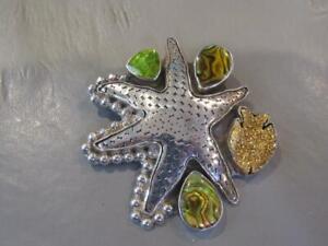 Amy Kahn Russell Sterling Silver Starfish ,Peridot,Abalone & Druzy Pendant / Pin