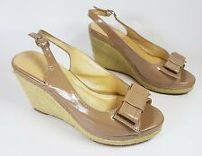 Pavers tan faux leather slingback wedge sandals uk 5 eu 38