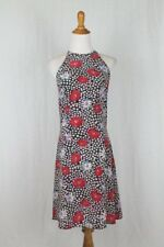 Vintage Jack Mulqueen Sleeveless Silk Poppy Print Dress Size 6 S