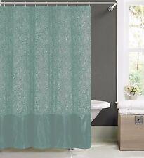 Spa Blue Faux Silk Fabric Shower Curtain w/ 12 Rollerball Hooks: Metallic Floral