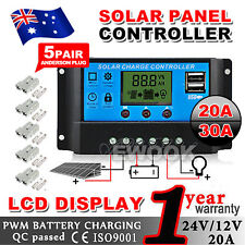 20A/30A 12V-24V Solar Panel Regulator Charge Controller USB + Anderson Plugs