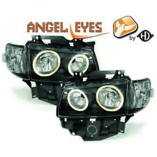 LHD Projector Headlights Pair Angel Eyes Clear Black For VW T4 Longnose 96-03