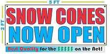 Snow Cones Now Open Banner Sign New 2x5