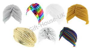 LADIES GOLD SILVER STRETCHY INDIAN TURBAN PLEATED HEAD WRAP CHEMO CLOCHE B4