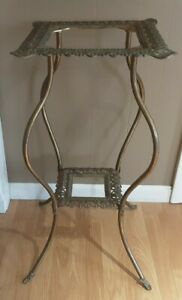 """Antique 2 Tier 32"""" Victorian Solid Brass Plant Stand Frame 19thC Ornate"""