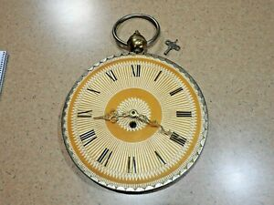 """Rare Antique Pocket Watch Style Large 13"""" Wall Clock - Brass - With Wind Up Key"""