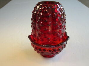 Fenton Ruby Red Hobnail Pattern Fairy Lamp