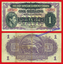 EAST AFRICA ORIENTAL 1 Shilling 1943 Pick 27  BC  /  F