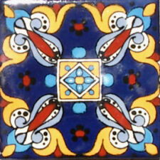 #C089) Mexican Tile sample Ceramic Handmade 4x4 inch, GET MANY AS YOU NEED !!