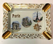 Vtg Limoges Paris Souvenir Ashtray La Seynie France Porcelain Eiffel Tower Evc