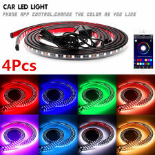 4Pcs Car Underbody Tube Strips APP Music Control Colorful RGB LED lights Lamps
