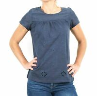 NEW Fat Face UK Stylish Summer Holiday Blue Embroidered CutOut Petal Tee 50% Off