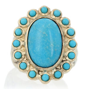 Sterling Silver Turquoise Halo Ring - 925 Gold Plated Size 6 1/4