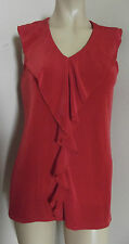 JONES STUDIO MEDIUM LONG RED SLEEVELESS TANK v-neck ruffle shirt slinky M