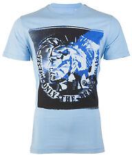 DIESEL Mens T-Shirt MOHICAN Mohawk LIGHT BLUE Casual Designer Jeans $58 NWT