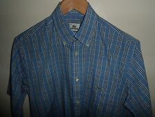 "VGC* LACOSTE Short Sleeve Mens Blue Shirt Size MEDIUM 15.5"" Lacoste Size 38"
