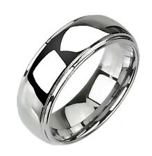 Tungsten Shiny Band Ring By Spikes Size 14