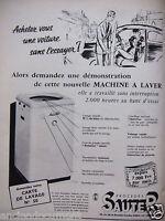 PUBLICITÉ 1955 MACHINE A LAVER SAUTER - ADVERTISING