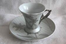 Lorren Home Limoges Silver Trim Grey/White Floral Design Espresso Cup & Saucer