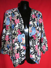 Crossroads Floral & Lace Insert Open Front Long Sleeved Jacket NWOT Size 14