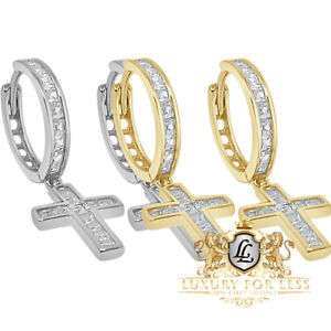 Unisex Real Silver 14K Gold Over Simulated Diamond Jesus Cross Hoop Stud Earring