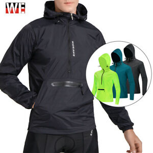 Mens Cycling Hooded Jacket Packable MTB Bike Hoodies Windproof Waterproof Jersey