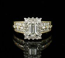 EMERALD & PRINCESS CUT NATURAL 1.51ctw DIAMOND HALO 18K GOLD ENGAGEMENT RING