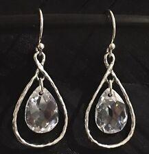 Drop Earrings 1 9/16� X 5/8� Beautiful Estate Sterling Silver Quartz Dangle Tear