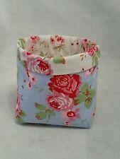 Handmade White & Blue Rosali Fabric bits&bobs Storage Basket/Bin/Tub Mothers Day